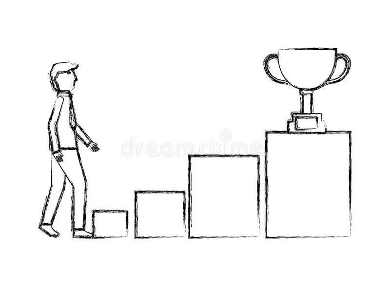 Ο επιχειρηματίας αναρριχείται στο τρόπαιο βημάτων εξεδρών στην κορυφή ελεύθερη απεικόνιση δικαιώματος