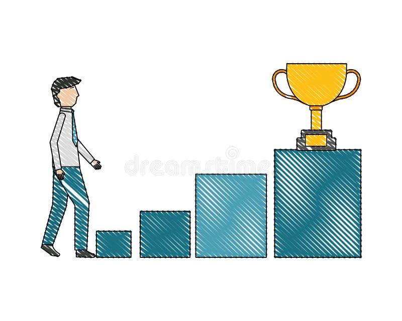 Ο επιχειρηματίας αναρριχείται στο τρόπαιο βημάτων εξεδρών στην κορυφή απεικόνιση αποθεμάτων