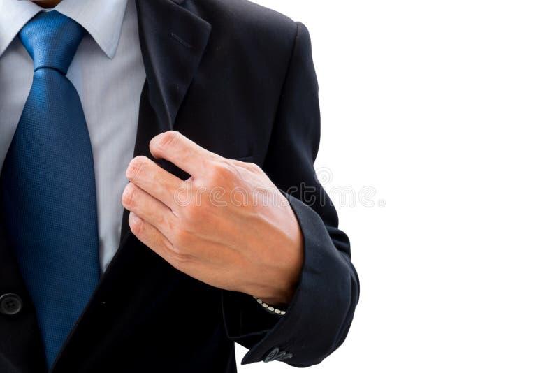 Ο επιχειρηματίας ανοίγει το εξωτερικό κοστούμι του στοκ εικόνα