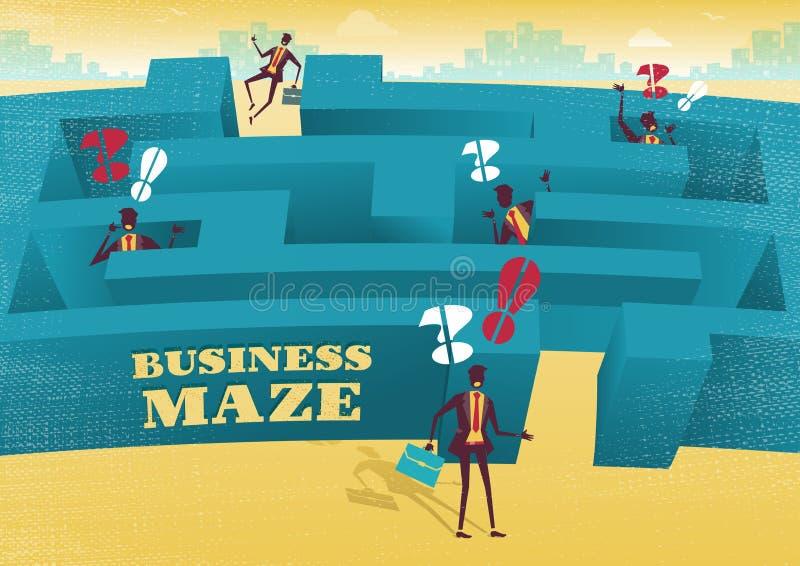 Ο επιχειρηματίας αρχίζει ένα δύσκολο ταξίδι λαβυρίνθου διανυσματική απεικόνιση