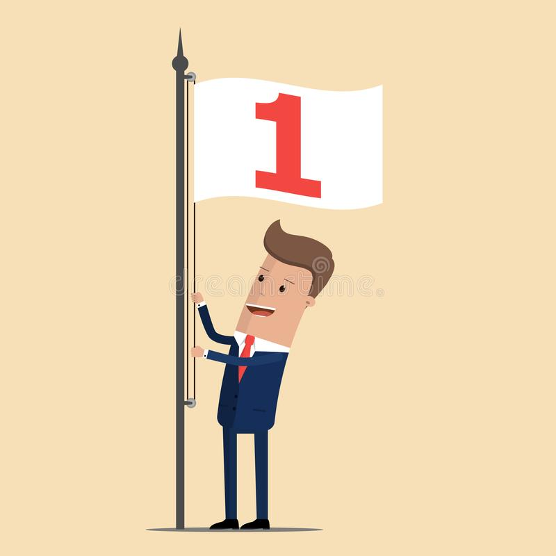 Ο επιχειρηματίας αύξησε τη σημαία με τον αριθμό 1 Επιτυχής, αριθμός ένας επίσης corel σύρετε το διάνυσμα απεικόνισης απεικόνιση αποθεμάτων