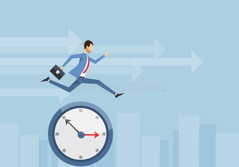 Ο επιχειρηματίας διασχίζει ένα ρολόι και μια επιχείρηση ανταγωνιστικά με το χρόνο διανυσματική απεικόνιση