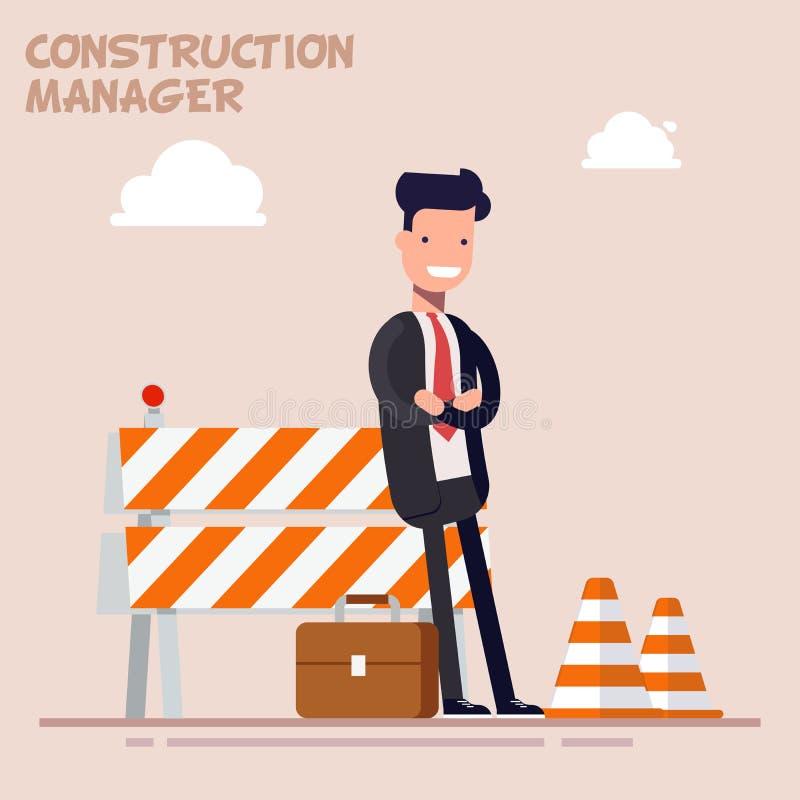 Ο επιχειρηματίας είναι διευθυντής ή ένας επιστάτης στέκεται κοντά στους φράκτες οικοδόμησης κοστούμι επιχειρησιακών Επίπεδος χαρα διανυσματική απεικόνιση