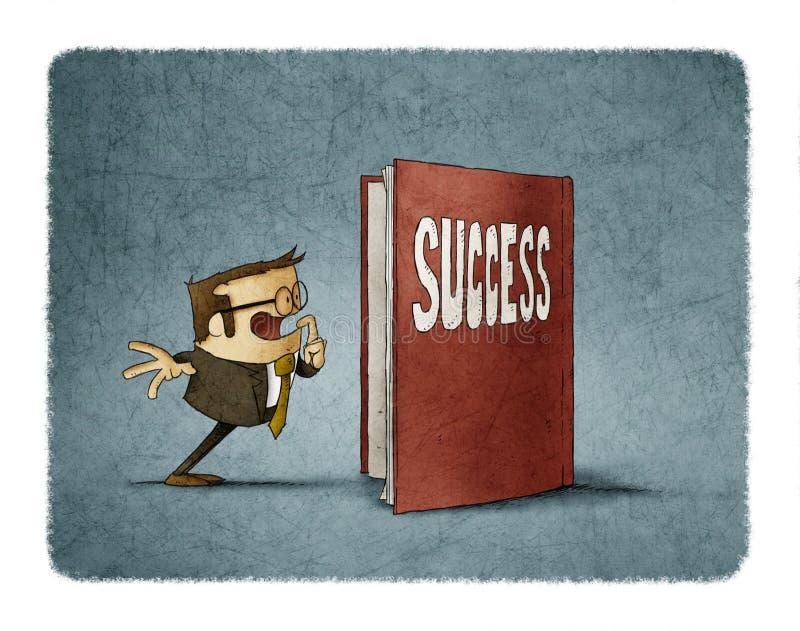 Ο επιχειρηματίας είναι κατάπληκτος για να δει το εσωτερικό ενός βιβλίου για την επιτυχία διανυσματική απεικόνιση