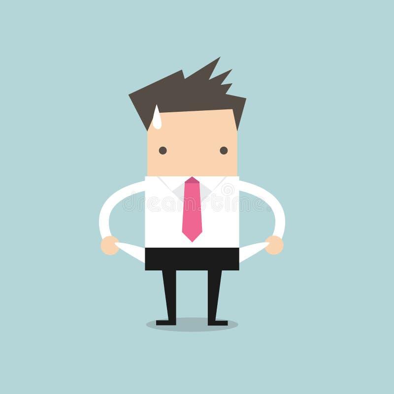 Ο επιχειρηματίας δεν έχει κανένα χρήμα ελεύθερη απεικόνιση δικαιώματος