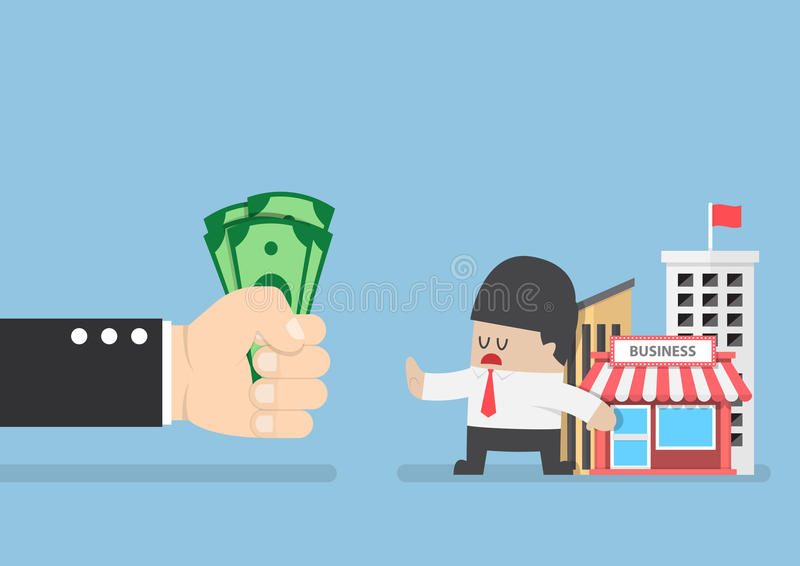 Ο επιχειρηματίας δεν θέλει να πωλήσει την επιχείρησή του διανυσματική απεικόνιση
