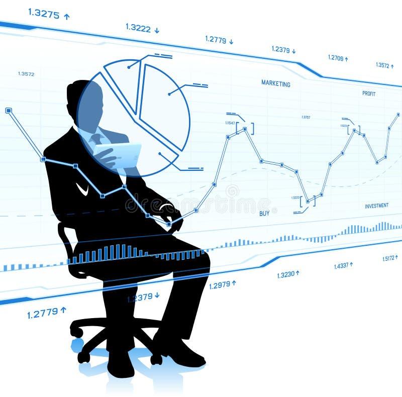 Ο επιχειρηματίας εξετάζει τα διαγράμματα γυαλιού απεικόνιση αποθεμάτων