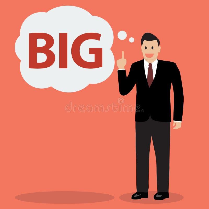 Ο επιχειρηματίας θεωρεί μεγάλος διανυσματική απεικόνιση