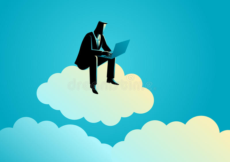 Ο επιχειρηματίας κάθεται στο σύννεφο διανυσματική απεικόνιση