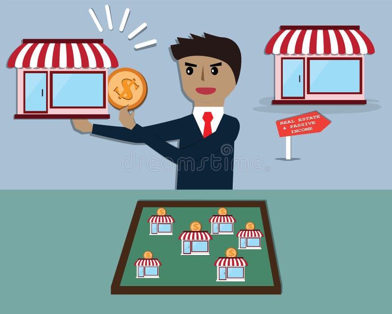 Ο επιχειρηματίας κάνει το παθητικό εισόδημα από την ενοικίαση σπιτιών - διάνυσμα ελεύθερη απεικόνιση δικαιώματος