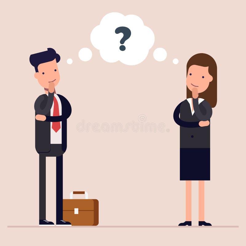 Ο επιχειρηματίας και η επιχειρηματίας ή οι διευθυντές σκέφτονται ομιλία ερώτησης σημαδιών φυσαλίδων Έννοια της σκεπτόμενης διαδικ απεικόνιση αποθεμάτων