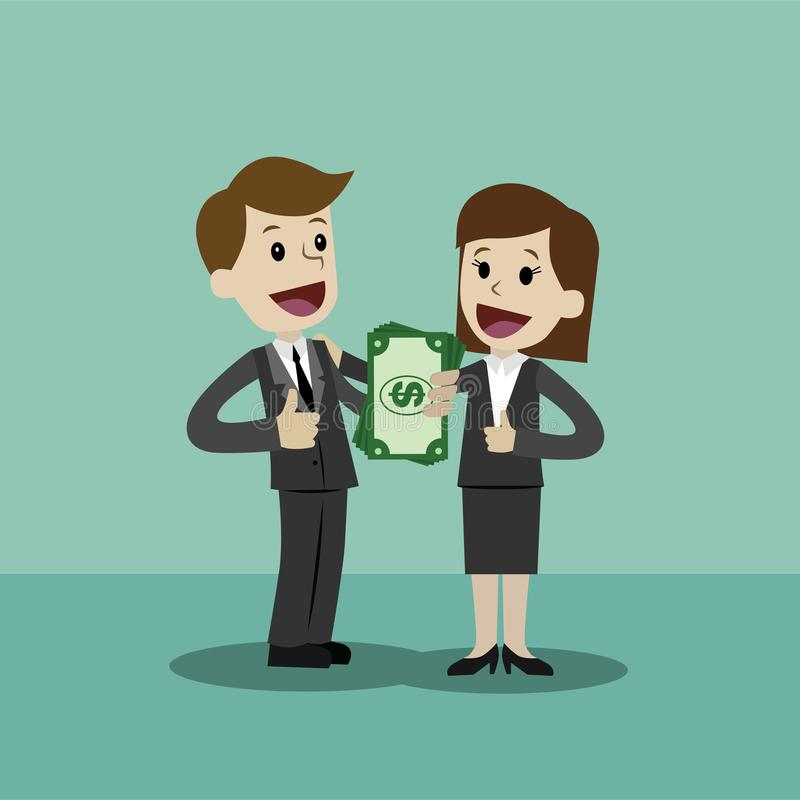 Ο επιχειρηματίας και η επιχειρηματίας κρατούν τα χρήματα στο χέρι του και έχουν το κέρδος Επιχείρηση Succsessful πληρωμές διανυσματική απεικόνιση