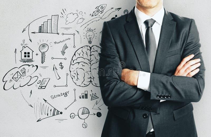 Ο επιχειρηματίας και σύρει doodle τα στοιχεία στοκ εικόνες