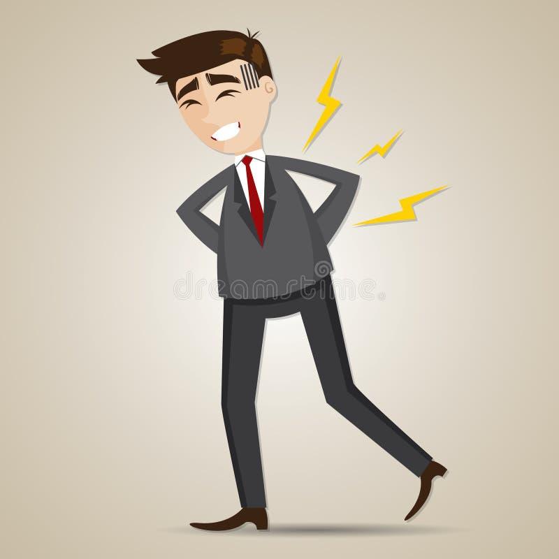 Ο επιχειρηματίας κινούμενων σχεδίων έχει τον πόνο στην πλάτη απεικόνιση αποθεμάτων