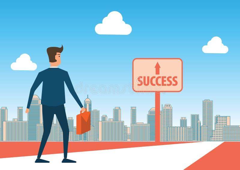 Ο επιχειρηματίας κοιτάζει στο σημάδι επιτυχίας ενδεχομένως για να περπατήσει και να φθάσει απεικόνιση αποθεμάτων