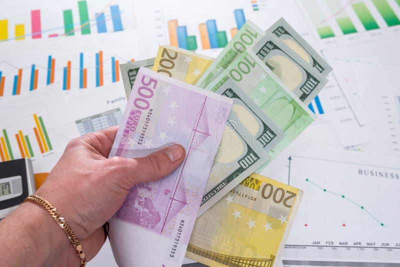 ο επιχειρηματίας κρατά τα χρήματα στο υπόβαθρο των επιχειρησιακών γραφικών παραστάσεων στοκ φωτογραφία με δικαίωμα ελεύθερης χρήσης