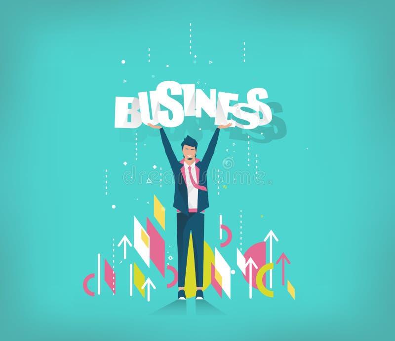 Ο επιχειρηματίας κρατά την επιχείρηση επιστολών απεικόνιση αποθεμάτων