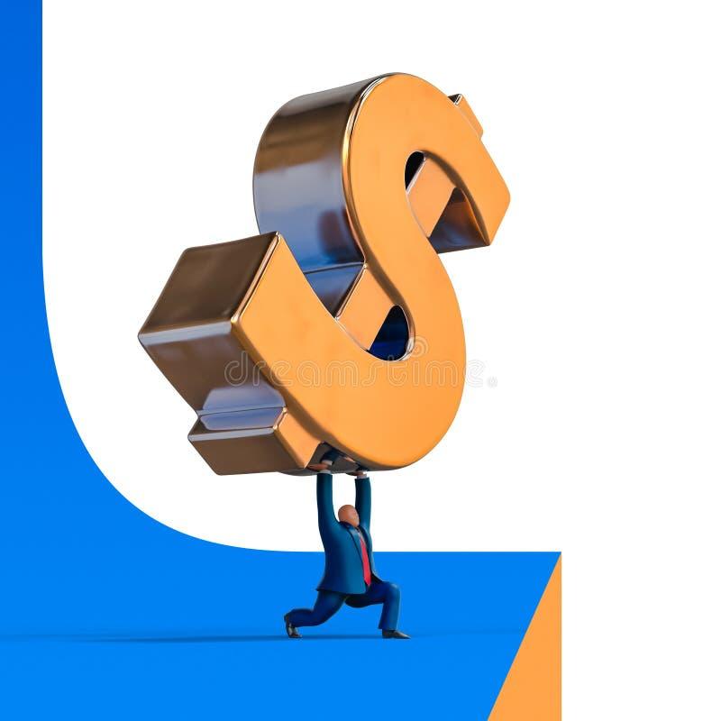 Ο επιχειρηματίας μειώνεται κάτω από το σημάδι δολαρίων Απεικόνιση επιχειρησιακής έννοιας απεικόνιση αποθεμάτων