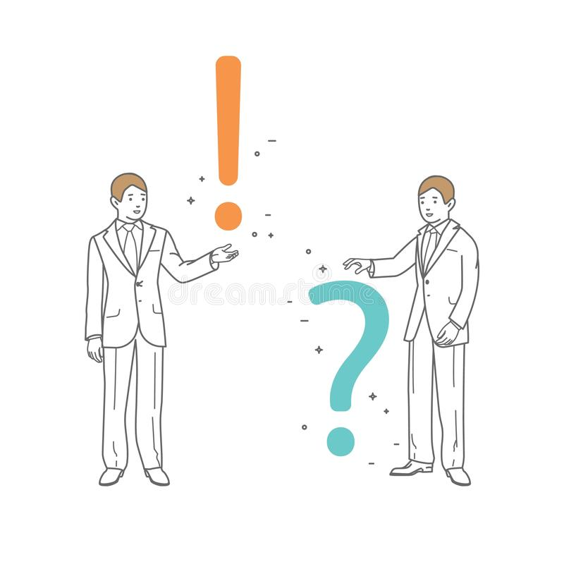 Ο επιχειρηματίας παρουσιάζει ένα ερωτηματικό και θαυμαστικό Διανυσματικό σχέδιο τέχνης γραμμών απεικόνισης Απομονωμένος στην ανασ διανυσματική απεικόνιση