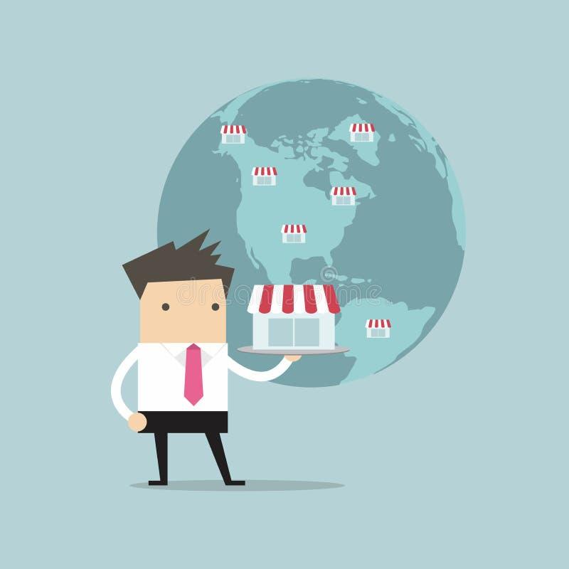 Ο επιχειρηματίας παρουσιάζει επιχείρησή του στη σφαιρική, έννοια προνομίου διανυσματική απεικόνιση