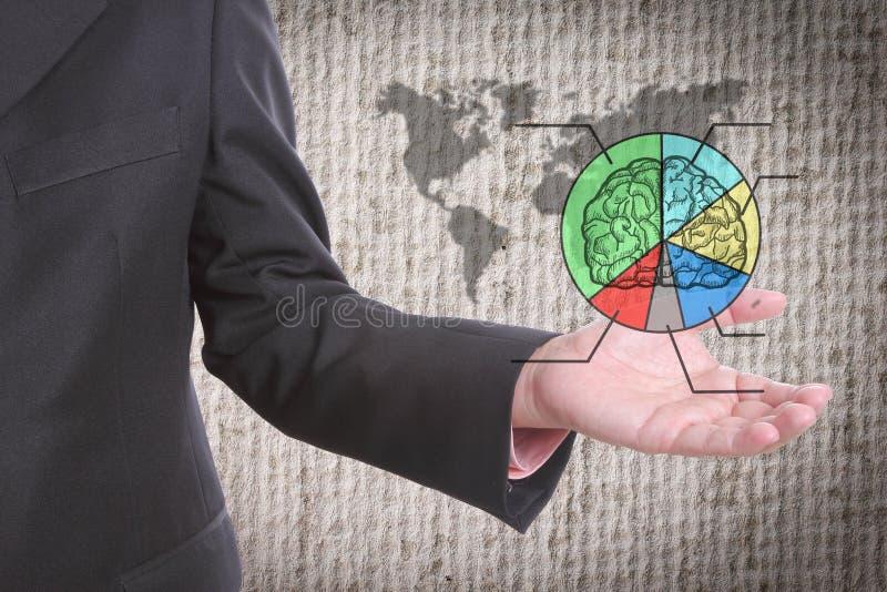 Ο επιχειρηματίας παρουσιάζει μερίδιο παγκόσμιας αγοράς στοκ εικόνες