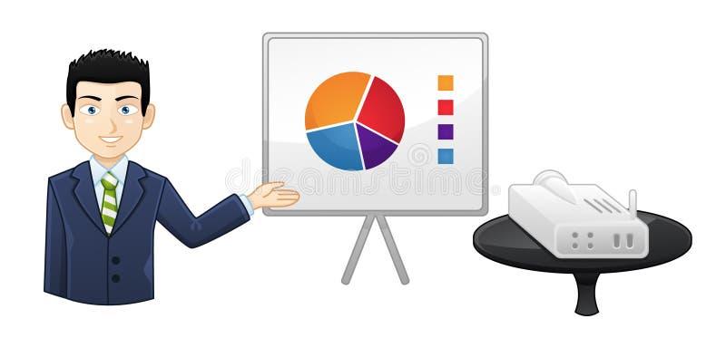 Ο επιχειρηματίας παρουσιάζει στοιχεία όσον αφορά ένα διάγραμμα κτυπήματος - είδωλο εικονιδίων απεικόνιση αποθεμάτων