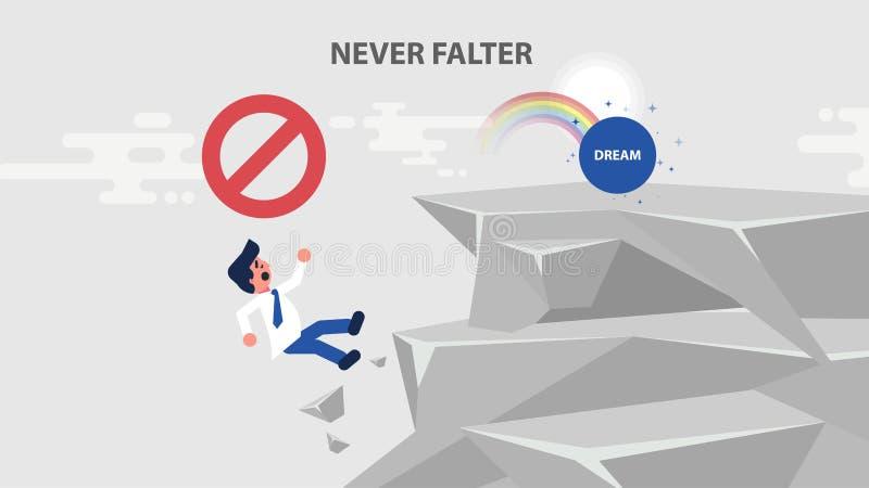 Ο επιχειρηματίας πηγαίνει να ονειρευτεί και αναρριχείται επάνω στο βράχο διανυσματική απεικόνιση