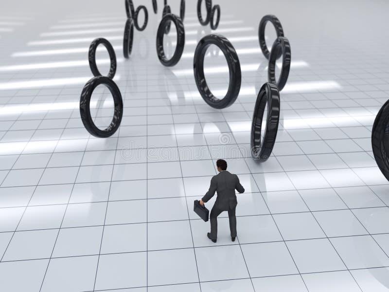 Ο επιχειρηματίας πιάνει τα μηδενικά κυλίσματος ελεύθερη απεικόνιση δικαιώματος