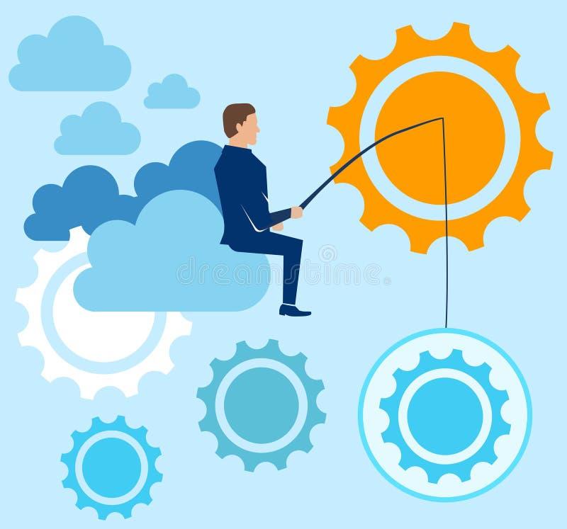 Ο επιχειρηματίας πιάνει τις ιδέες και κάθεται στο σύννεφο επίσης corel σύρετε το διάνυσμα απεικόνισης διανυσματική απεικόνιση