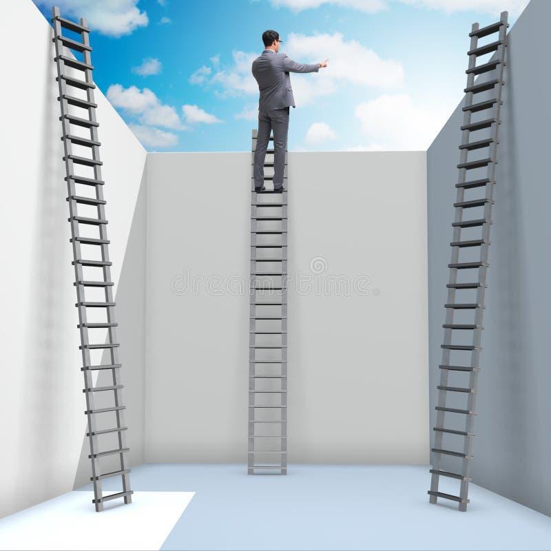 Ο επιχειρηματίας που αναρριχείται σε μια σκάλα στη διαφυγή από τα προβλήματα διανυσματική απεικόνιση
