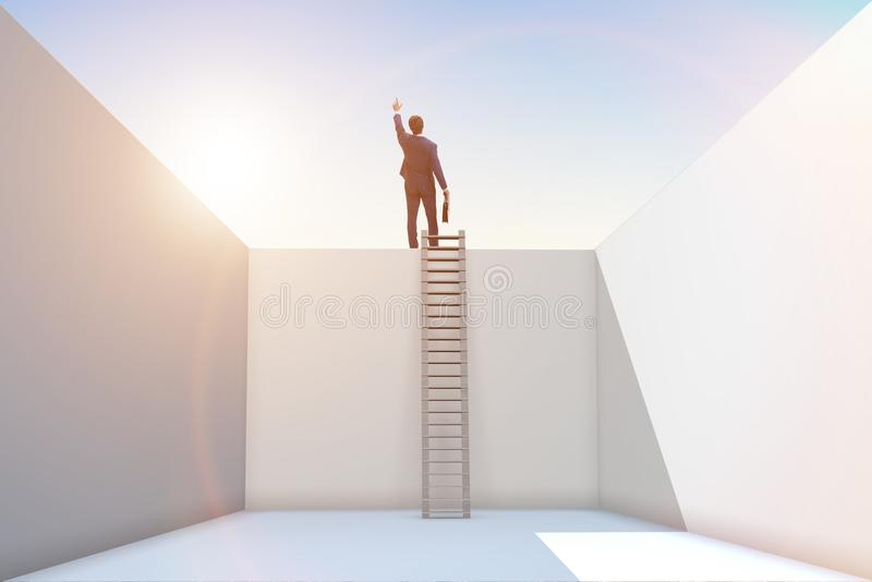 Ο επιχειρηματίας που αναρριχείται σε μια σκάλα στη διαφυγή από τα προβλήματα ελεύθερη απεικόνιση δικαιώματος