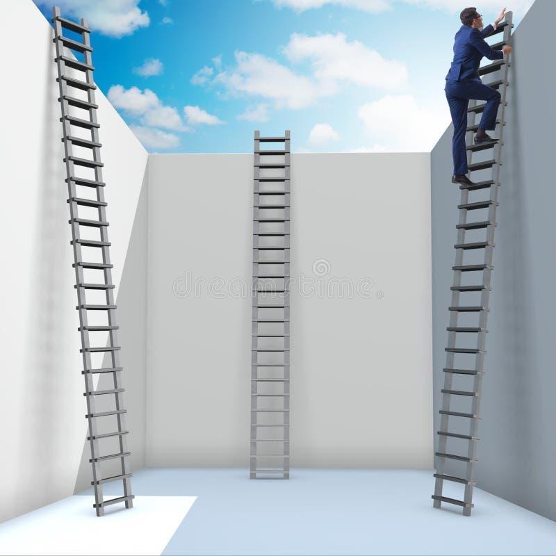 Ο επιχειρηματίας που αναρριχείται σε μια σκάλα στη διαφυγή από τα προβλήματα απεικόνιση αποθεμάτων