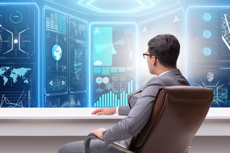 Ο επιχειρηματίας που κάνει εμπόριο στις παγκόσμιες αγορές διανυσματική απεικόνιση