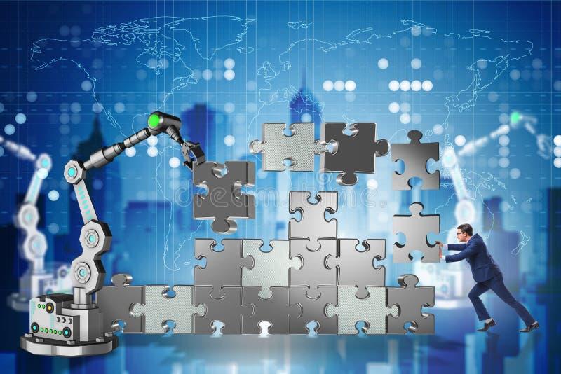 Ο επιχειρηματίας που κάνει το γρίφο τορνευτικών πριονιών με το ρομποτικό βραχίονα ελεύθερη απεικόνιση δικαιώματος
