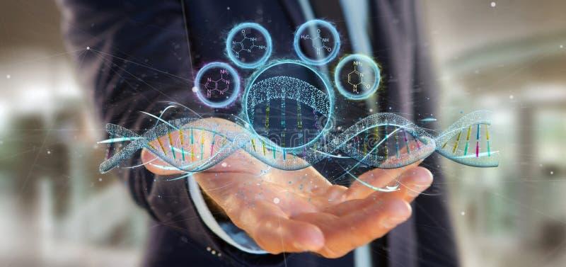 Ο επιχειρηματίας που κρατά έναν τρισδιάστατο δίνει το DNA στοκ φωτογραφία με δικαίωμα ελεύθερης χρήσης