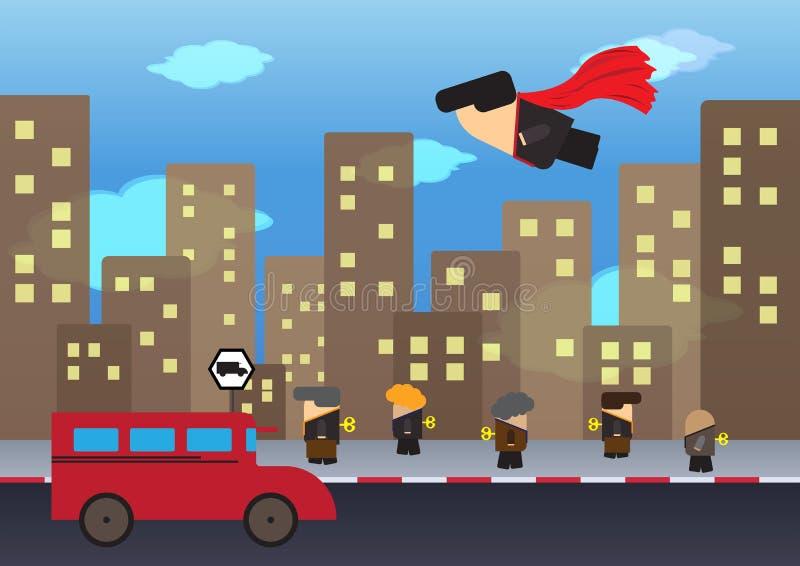 Ο επιχειρηματίας που πετά πέρα από τον περπατώντας επιχειρηματία απεικόνιση αποθεμάτων