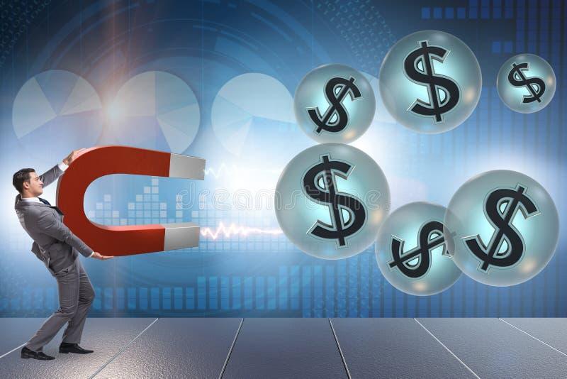 Ο επιχειρηματίας που πιάνει τα δολάρια στον πεταλοειδή μαγνήτη διανυσματική απεικόνιση