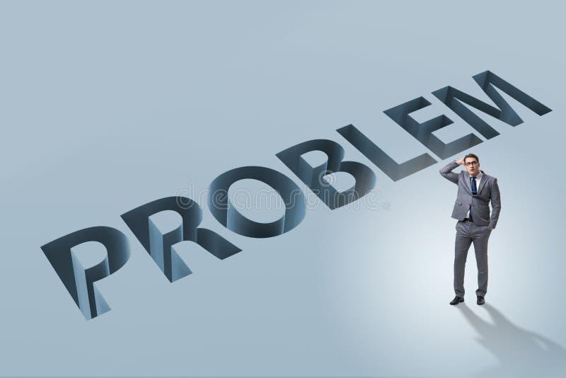 Ο επιχειρηματίας που υπερνικά το επιχειρησιακό οικονομικό πρόβλημα στοκ εικόνα