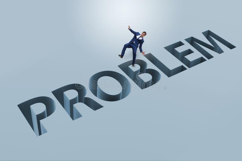 Ο επιχειρηματίας που υπερνικά το επιχειρησιακό οικονομικό πρόβλημα διανυσματική απεικόνιση