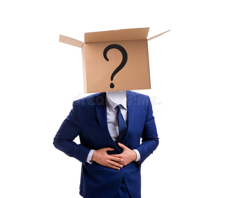 Ο επιχειρηματίας που υποβάλλει τις ερωτήσεις στην επιχειρησιακή έννοια στοκ φωτογραφίες με δικαίωμα ελεύθερης χρήσης