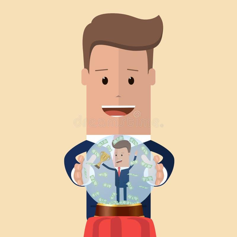 Ο επιχειρηματίας προβλέπει το επιτυχές μέλλον του επίσης corel σύρετε το διάνυσμα απεικόνισης απεικόνιση αποθεμάτων
