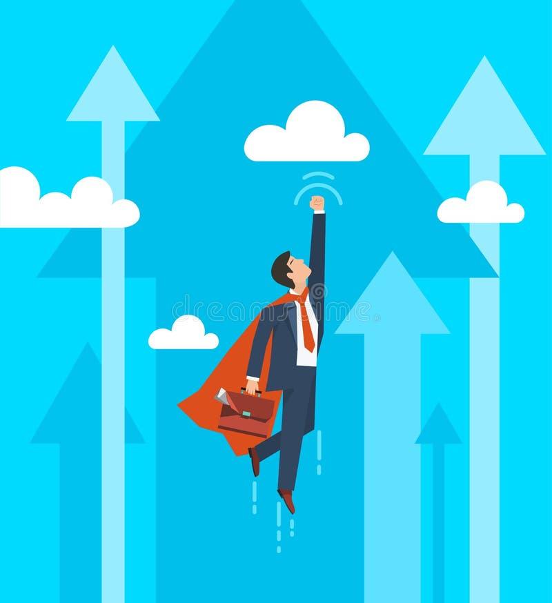 Ο επιχειρηματίας σε ένα superhero κοστουμιών πετά επάνω Έννοια αύξησης ηγεσίας και επιχειρήσεων Επίπεδο σχέδιο επίσης corel σύρετ διανυσματική απεικόνιση