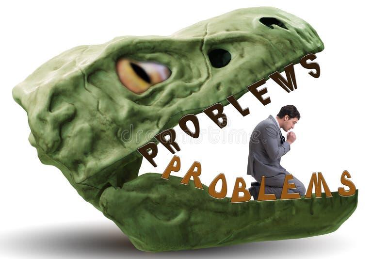 Ο επιχειρηματίας στα σαγόνια των προβλημάτων στοκ φωτογραφίες