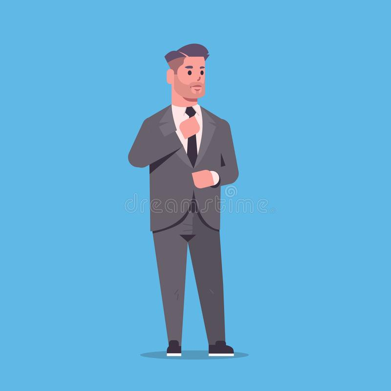 Ο επιχειρηματίας στην επίσημη ένδυση που στέκεται θέτει τοποθέτηση εργαζομένων γραφείων επιχειρησιακών ατόμων χαρακτήρα κινουμένω διανυσματική απεικόνιση