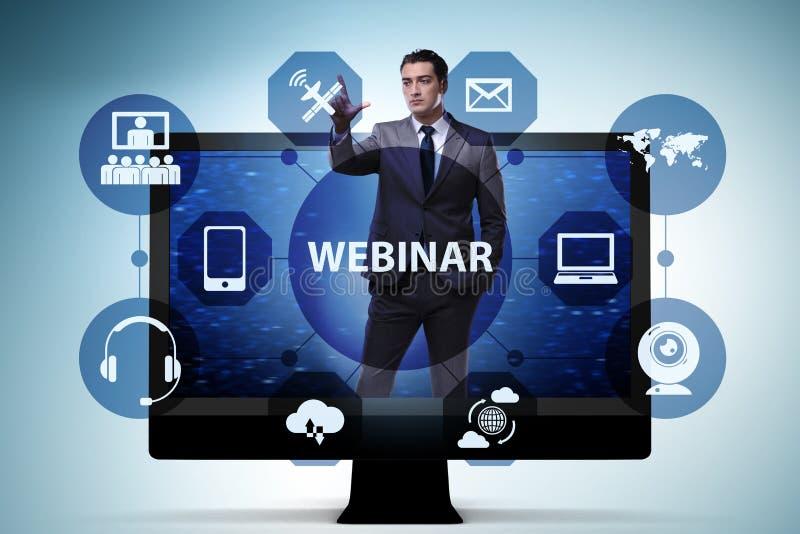 Ο επιχειρηματίας στη σε απευθείας σύνδεση webinar έννοια απεικόνιση αποθεμάτων