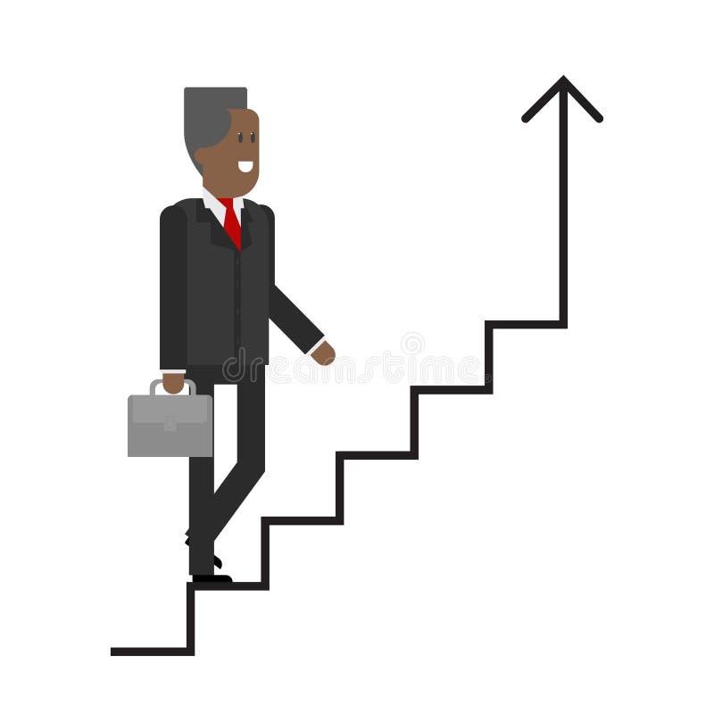 Ο επιχειρηματίας στη σκάλα σταδιοδρομίας αναρριχείται επάνω Αφροαμερικάνος απεικόνιση αποθεμάτων