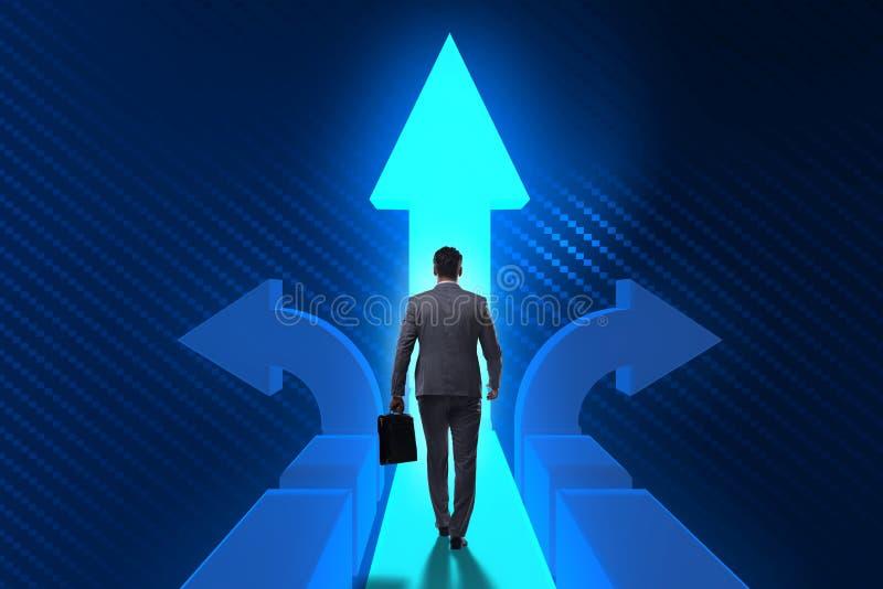 Ο επιχειρηματίας στη δύσκολη έννοια επιλογής διανυσματική απεικόνιση