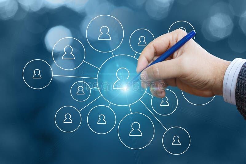 Ο επιχειρηματίας σύρει ένα δίκτυο των πελατών ελεύθερη απεικόνιση δικαιώματος