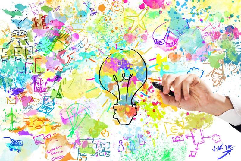 Ο επιχειρηματίας σύρει ένα δημιουργικό επιχειρησιακό πρόγραμμα στοκ εικόνα με δικαίωμα ελεύθερης χρήσης