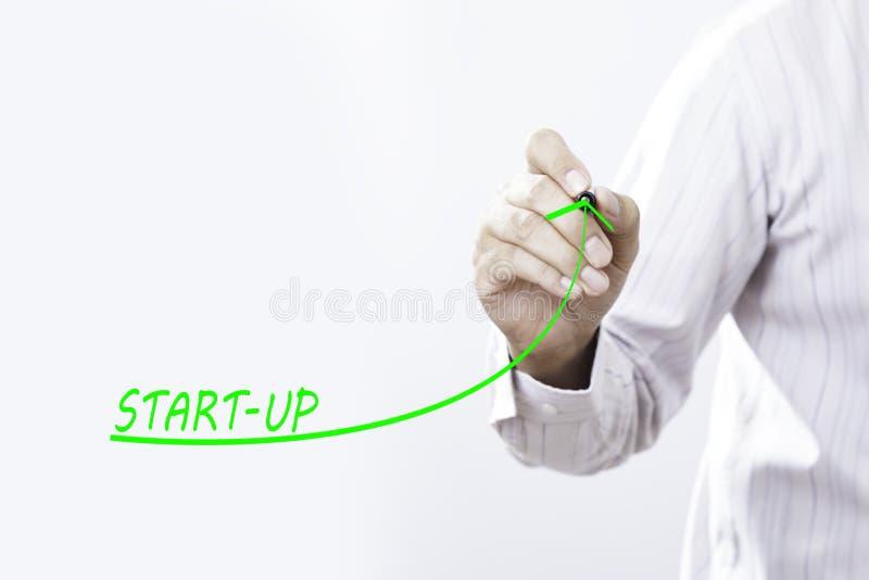 Ο επιχειρηματίας σύρει την αυξανόμενη γραμμή συμβολίζει το αυξανόμενο ξεκίνημα στοκ εικόνες